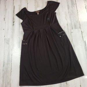 Chadwicks dress short black pockets cap work 14
